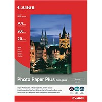Canon A4 Photo Paper Plus 260gsm Semi-Gloss (Pack of 20) 1686B021