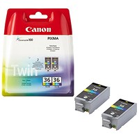 Canon CLI-36 CMY Inkjet Cartridges (Pack of 2) 1511B018