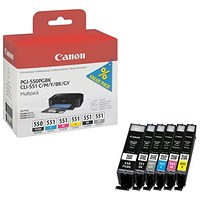 Canon PGI-550/CLI-551 Ink Multipack - Pigment Black, Cyan, Magenta, Yellow, Black and Grey (6 Cartridges)