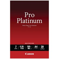 Canon PT-101 Pro A4 Platinum Photo Paper (Pack of 20) 2768B016