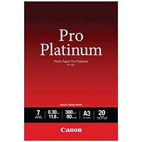 Canon PT-101 Pro A3 Platinum Photo Paper (Pack of 20) 2768B017