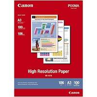 Canon High Resolution A3 Inkjet Paper White, 106gsm, (Pack of 100)