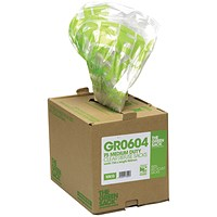 The Green Sack Refuse Sacks, Medium Duty, 80 Litre, 457x737x965mm, Clear, Pack of 75