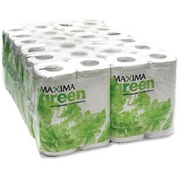 Maxima Green White Recycled Toilet Roll, 320 Sheet Rolls, Pack of 36