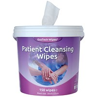 EcoTech White Patient Cleansing Wipes 150 Sheets