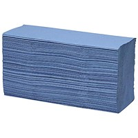 Maxima 7085 Z-Fold Hand Towels, 1-Ply, Blue, 15 Sleeves