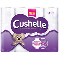 Cushelle Cushioned Toilet Roll, Pack of 12