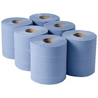 Maxima Centrefeed Rolls, 2-Ply, Blue, Pack of 6