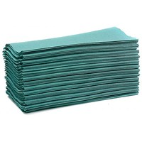 Maxima C-Fold Hand Towels, Recycled, 1-Ply, Green, 15 Sleeves