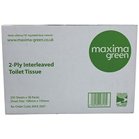 Maxima Bulk Pack Toilet Tissue 2-Ply 250 Sheets White (Pack of 36) KMAX2067