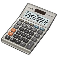 Casio Semi-desk Calculator, 12 Digit, 3 Key, Battery/Solar Power, Silver