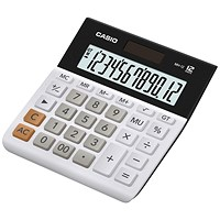 Casio Desktop Calculator, 12 Digit, 4 Key, Battery/Solar, White/Black