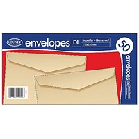 County Stationery DL Manilla Gummed Envelopes (Pack of 1000)
