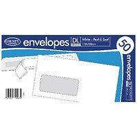County Stationery DL White Window Peel and Seal Envelopes (Pack of 1000)