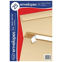 County Stationery C4 25 Manilla Peal and Seal Envelopes (Pack of 20)
