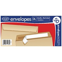 County Stationery DL Manilla Peal and Seal Envelopes (Pack of 1000)