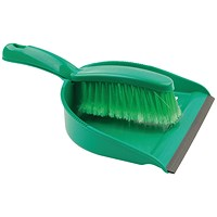 Dustpan & Brush Set, Soft Bristle, Green