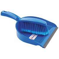Dustpan and Brush Set Blue (Rubber lipped edge and soft bristled handle) 102940BU