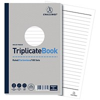Challenge Carbonless Triplicate Book, Ruled, 100 Sets, 210x130mm, Pack of 5