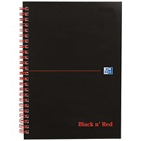 Black n' Red Soft Cover Wirebound Notebook, A5, Ruled & Perforated, 100 Pages, Pack of 10