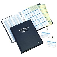 Durable Leather Look Visitors Book - 300 Badge Inserts