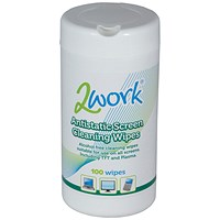2Work Anti-Static Screen Cleaning Wipes (Pack of 100)