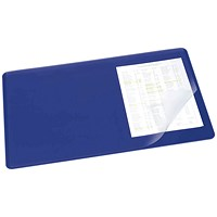 Durable Desk Mat with Transparent Overlay 530 x 400mm Dark Blue