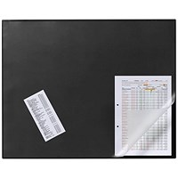 Durable Desk Mat with Transparent Overlay, W650xD520mm, Black
