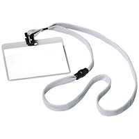 Durable Name Badges with Necklace & Safety Closure, 440mm, Grey, Pack of 10