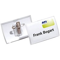 Durable Click Fold Name Badge With Combi Clip 40x75mm (Pack of 25) 8211/19