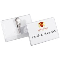 Durable Name Badges, Crocodile Clip, 90x54mm, Pack of 25