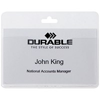 Durable Visitor Badge 60x90mm Transparent (Pack of 50) 999108008