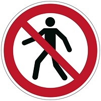 Durable Pedestrians Prohibited Floor Sign