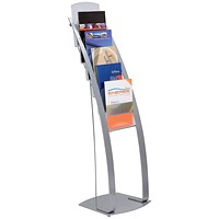 Floorstanding Literature Display, 6 x A4 Pockets, Silver
