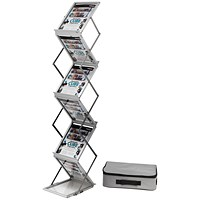 Folding Concertina Floor Stand, 6 x A4 Shelves, Silver