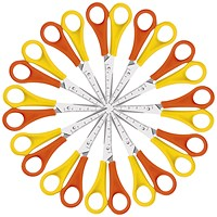 Westcott Left Handed Scissors, 130mm, Yellow and Orange, Pack of 12