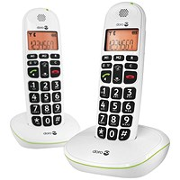 Doro DECT Cordless Telephone Big Button White Twin Pack PHONEEASY 100WD