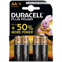 Duracell Plus Power Alkaline Battery, 1.5V, AA, Pack of 4