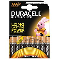 Duracell Plus Power Alkaline Battery, AAA, 1.5V, Pack of 8