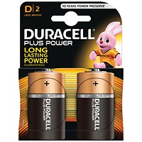 Duracell Plus Power Alkaline Battery, 1.5V, D, Pack of 2