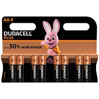Duracell Plus Power Alkaline Battery, 1.5V, AA, Pack of 8