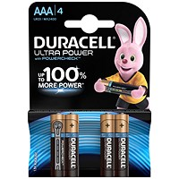 Duracell Ultra Power MX2400 Alkaline Battery, 1.5V, AAA, Pack of 4