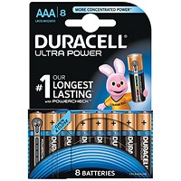 Duracell Ultra Power MX2400 Alkaline Battery, 1.5V, AAA, Pack of 8