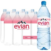 Evian Natural Mineral Water - 8 x 1.5 Litre Bottles