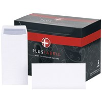 Plus Fabric Plain DL Pocket Envelopes, White, Press Seal, 120gsm, Pack of 500