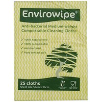 Envirowipe Antibacterial Cleaning Cloths 500x360mm Yellow (Pack of 25) EWF153