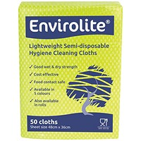 Envirolite Lightweight 480x360mm Yellow All Purpose Cloths (Pack of 50) ELF500