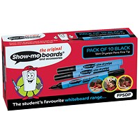 Show-me Drywipe Marker, Slim Barrel, Fine, Black, Pack of 10