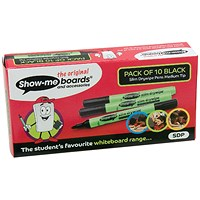 Show-me Drywipe Marker, Slim Barrel, Medium, Black, Pack of 10