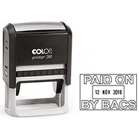 COLOP Printer 38 Self Inking Date and Message Stamp PAID ON BY BACS
